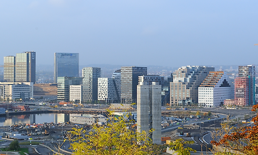 Skyline of downtown Oslo Norway.
