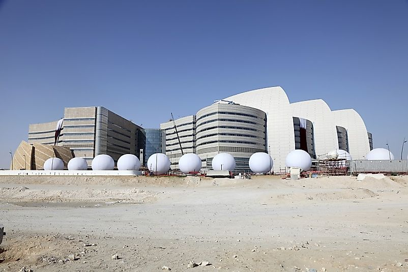 A modern medical research center in Doha, Qatar.