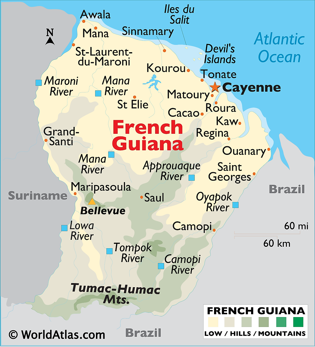 Physical map of French Guiana showing terrain, Tumac-Humac mountains, major rivers, important settlements, islands, etc.
