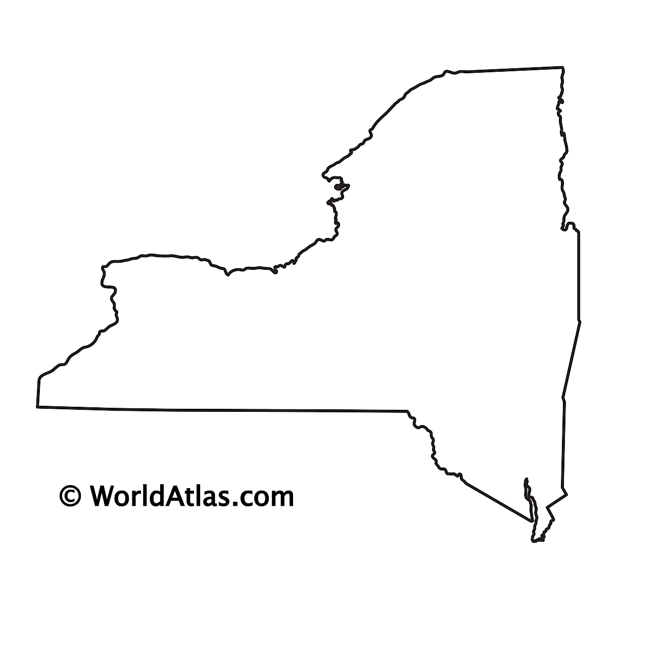Blank Outline Map of New York