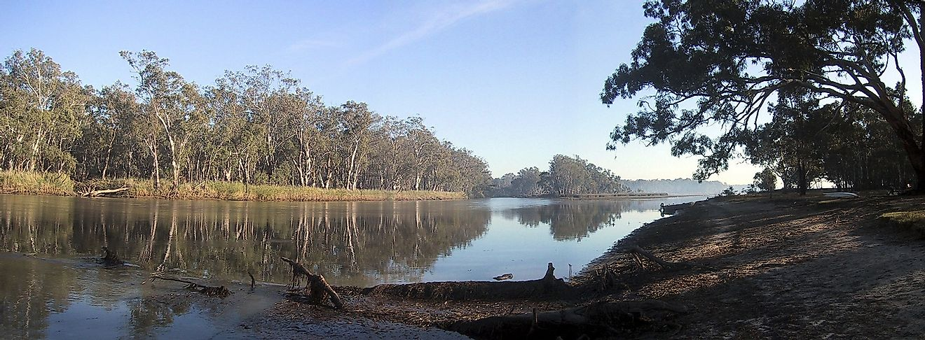 The Murray River along the state border between New South Wales and Victoria.