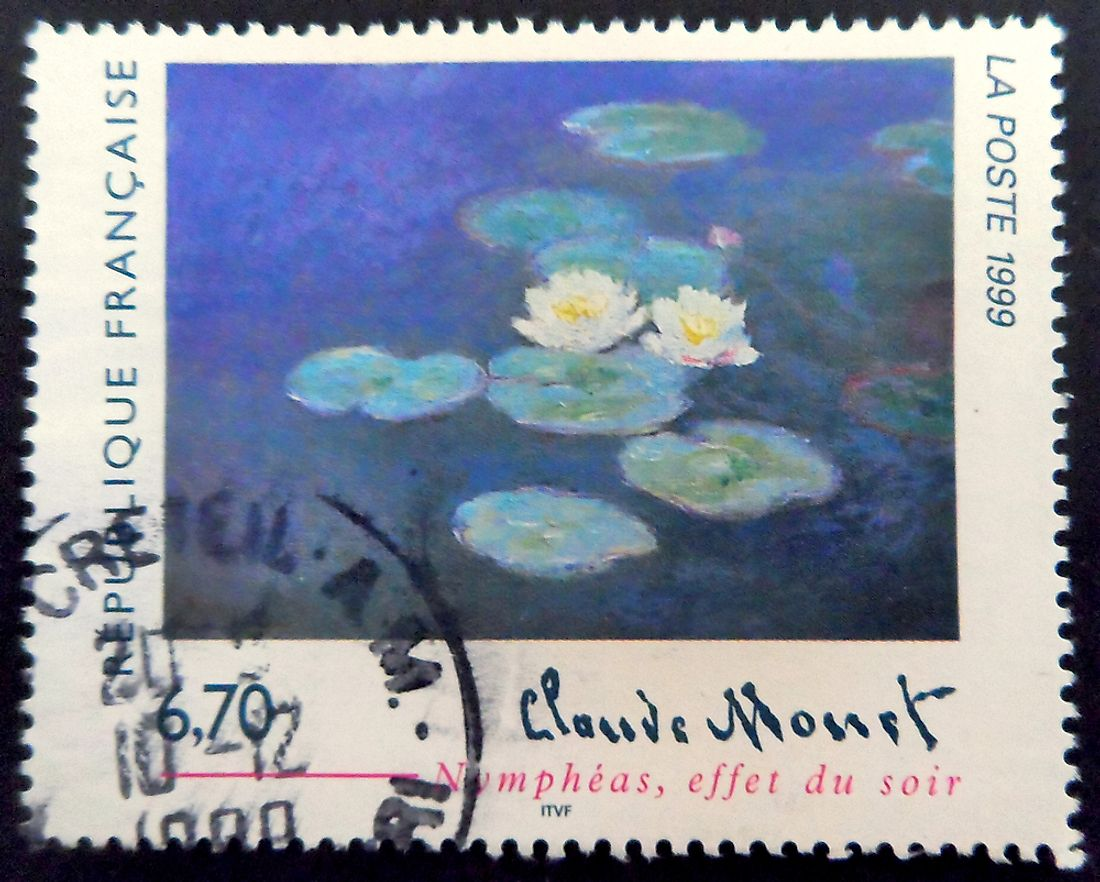 A French postage stamp dedicated to the Water Lilies by Claude Monet.