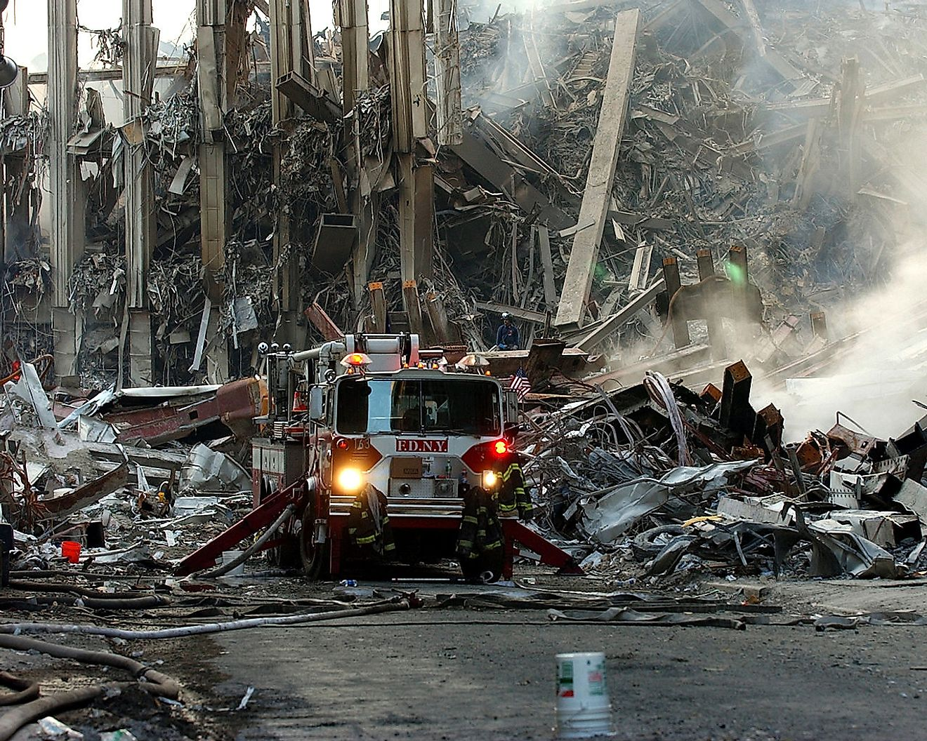 A lone fire engine at the crime scene in Manhattan where the World Trade Center collapsed following the Sept. 11 terrorist attack. Image credit: Chief Photographer's Mate Eric J. TIlford./Public domain