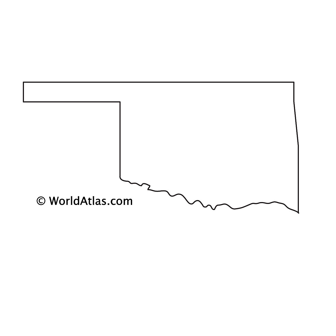 Blank Outline Map of Oklahoma