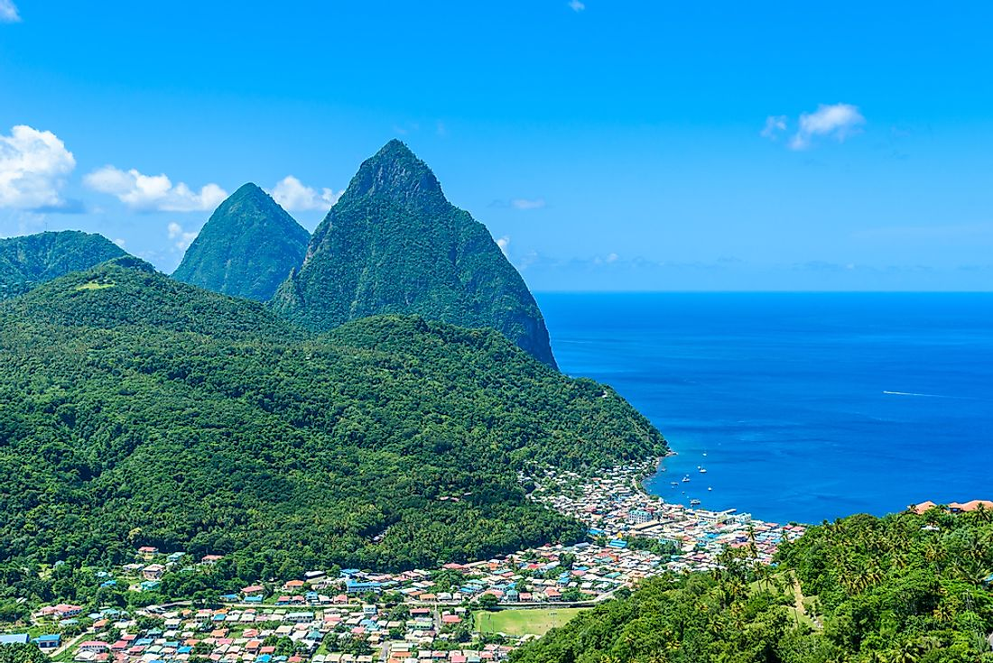 The Pitons next to the town of Soufriere in Saint Lucia.