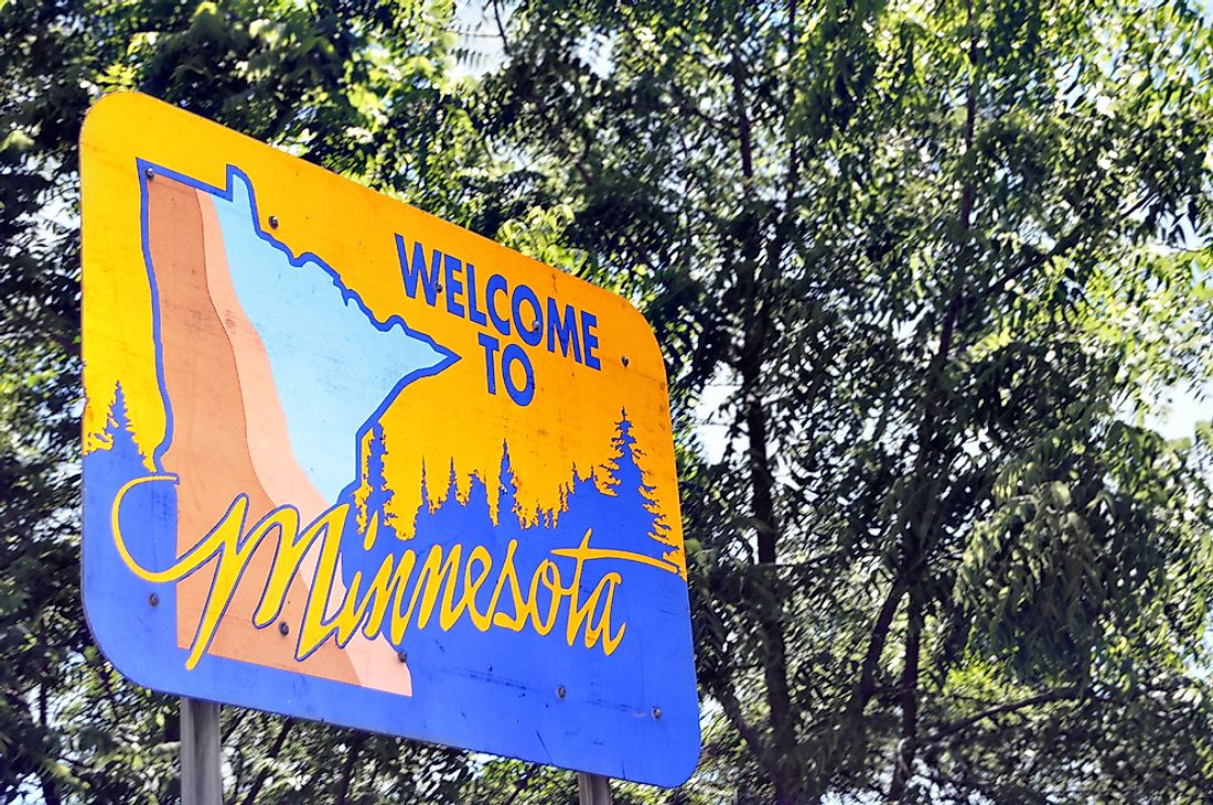"""Welcome to Minnesota"" sign."