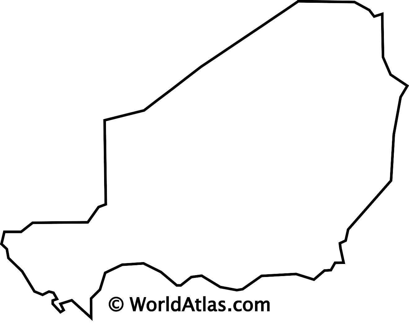 Blank Outline Map of Niger
