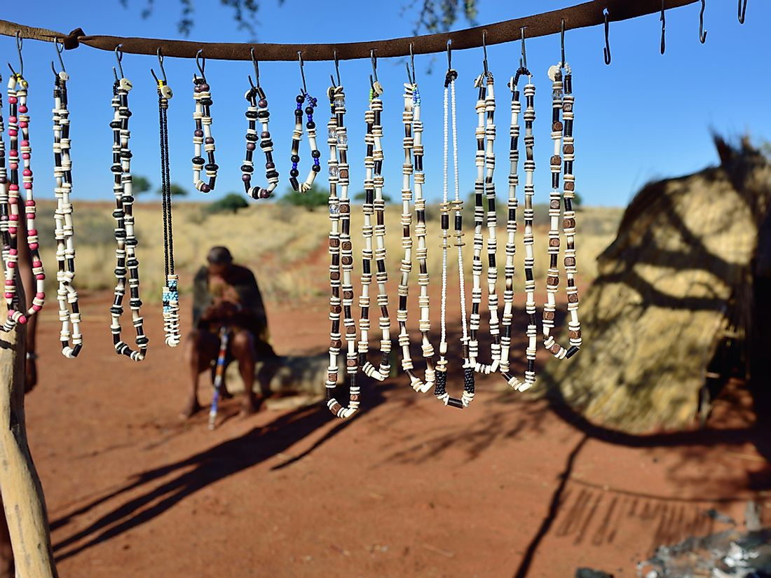 Homemade jewellery made by the San people in Botswana.