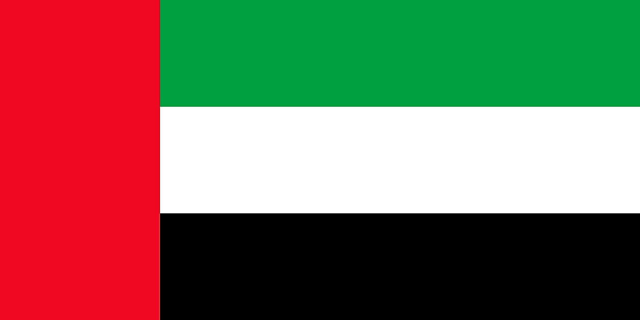United Arab Emirates flag features three equal horizontal bands of green, white and black, with a wider vertical red band on the hoist side.