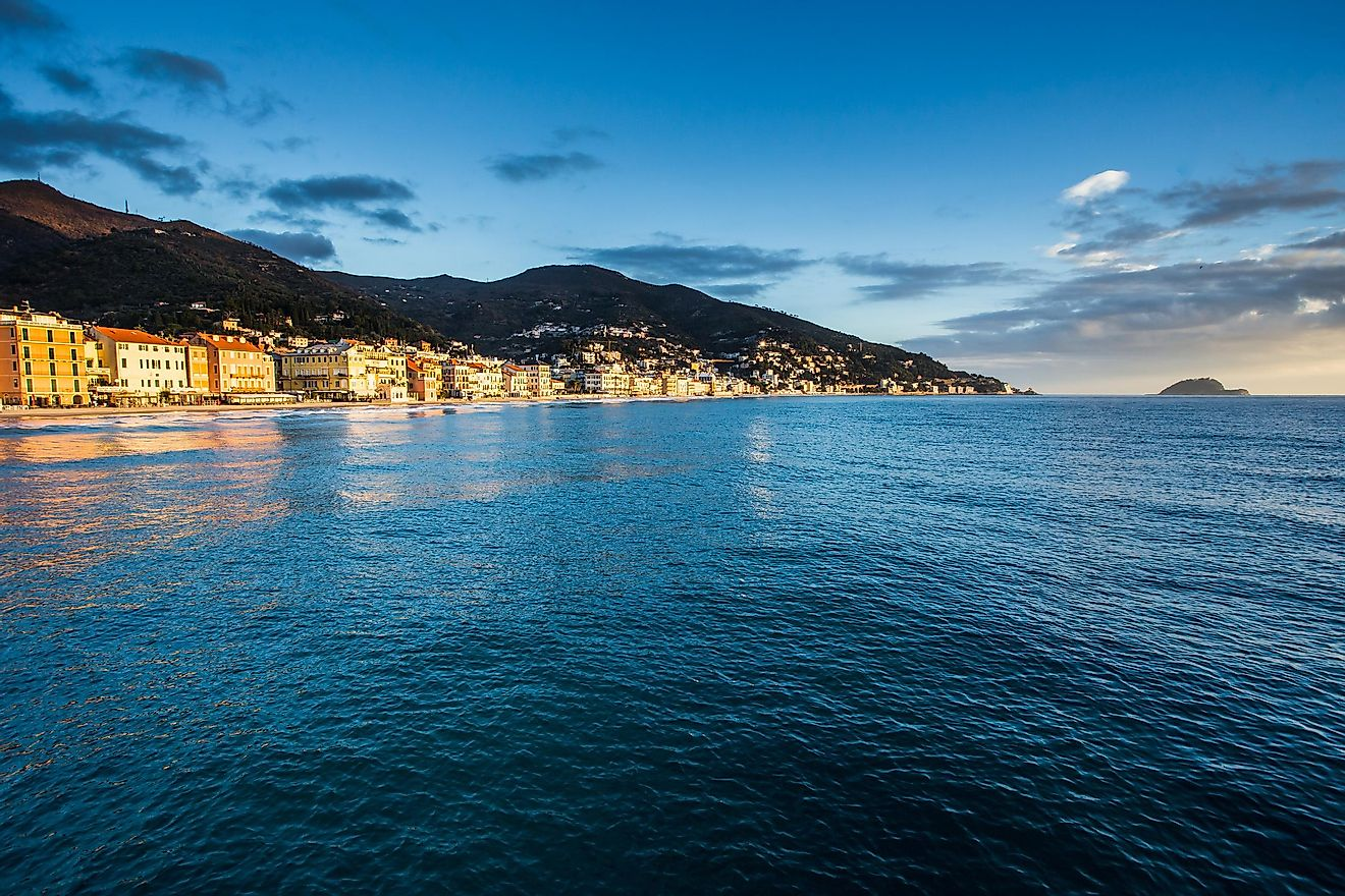 Alassia town on the Ligurian Sea coast.