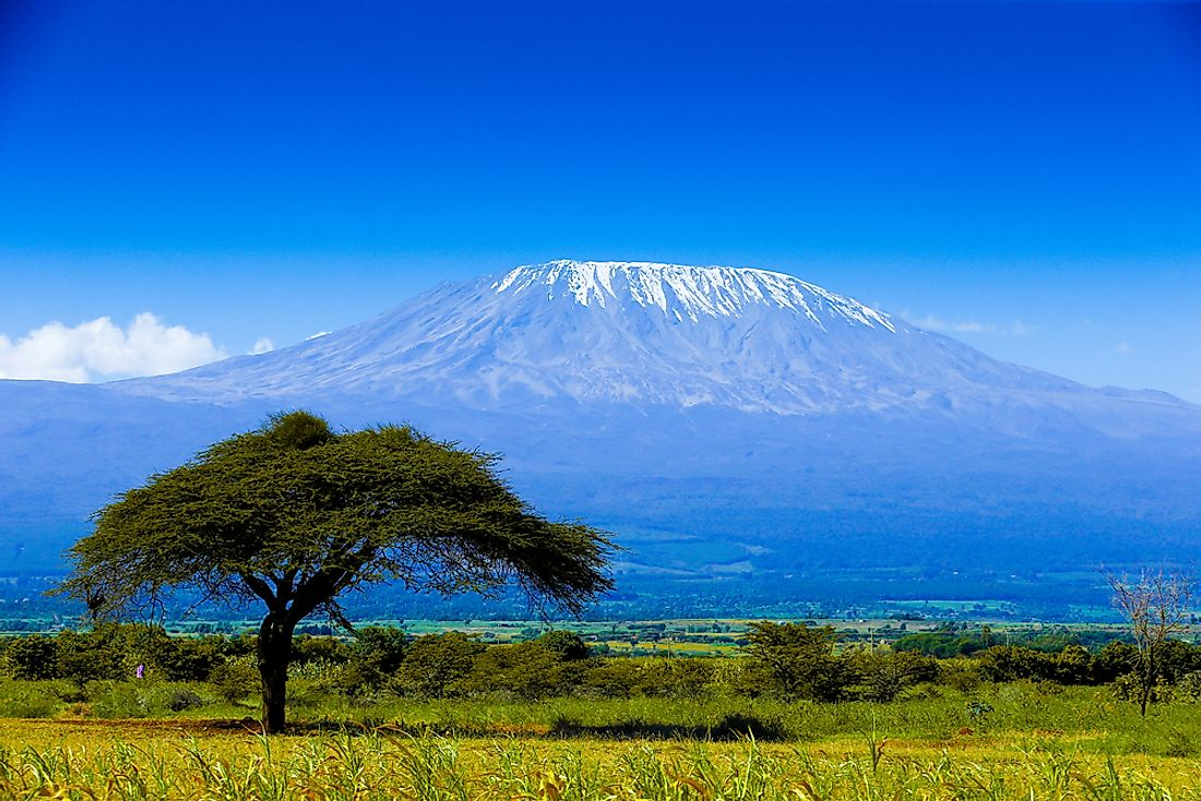 Kilimanjaro, a dormant stratovolcano, is the highest mountain in Africa.