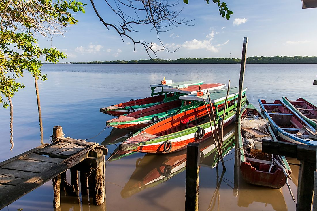 Traditional boats seen in Suriname.