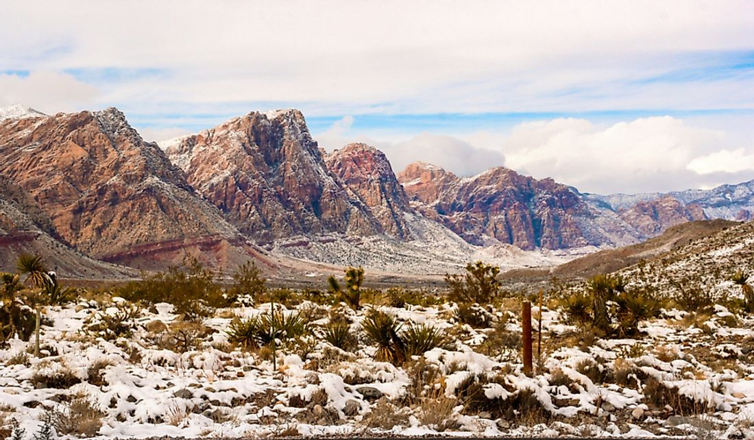 Snowfall in the Red Rock Conservation Area in Las Vegas, Nevada.