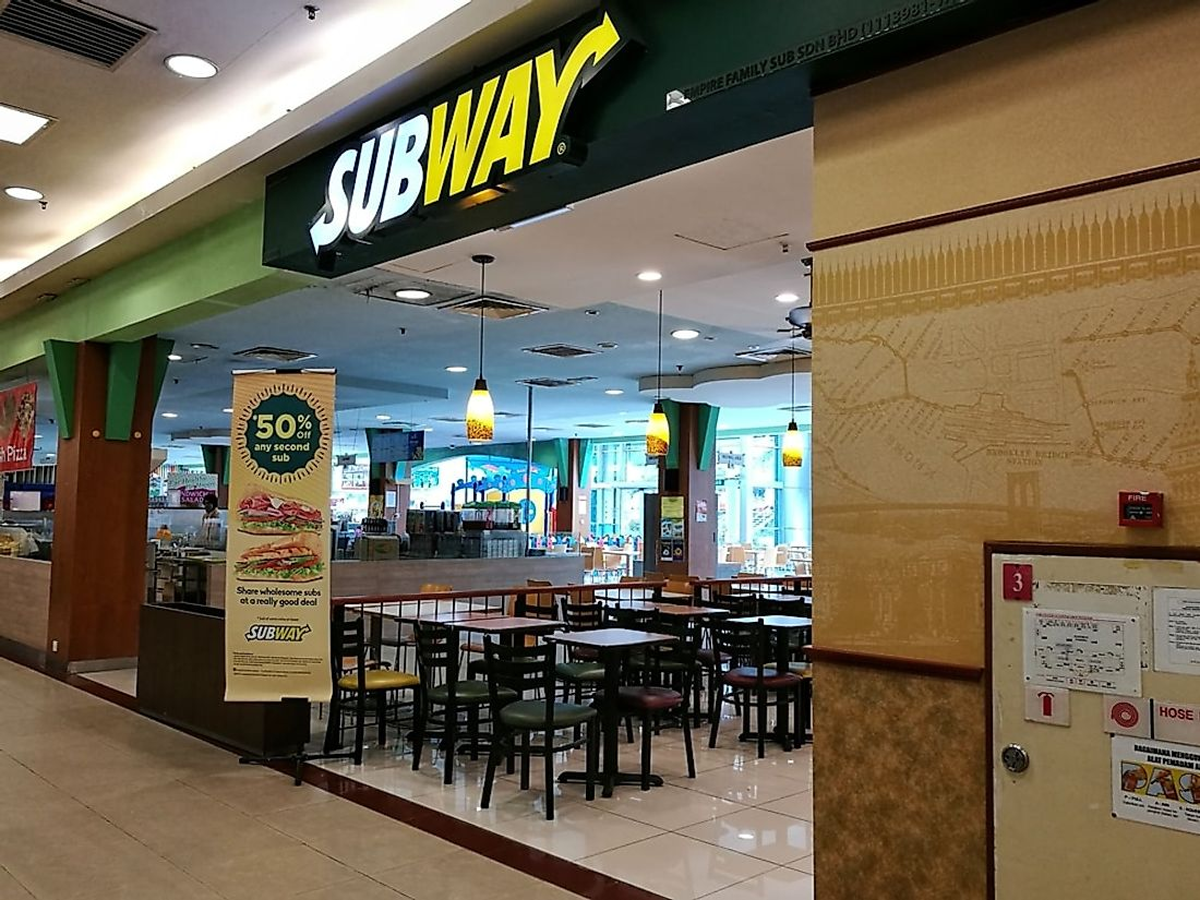 A Subway restaurant in Malaysia. Subway is the largest fast food chain in the world. Editorial credit: Azne Omar / Shutterstock.com.