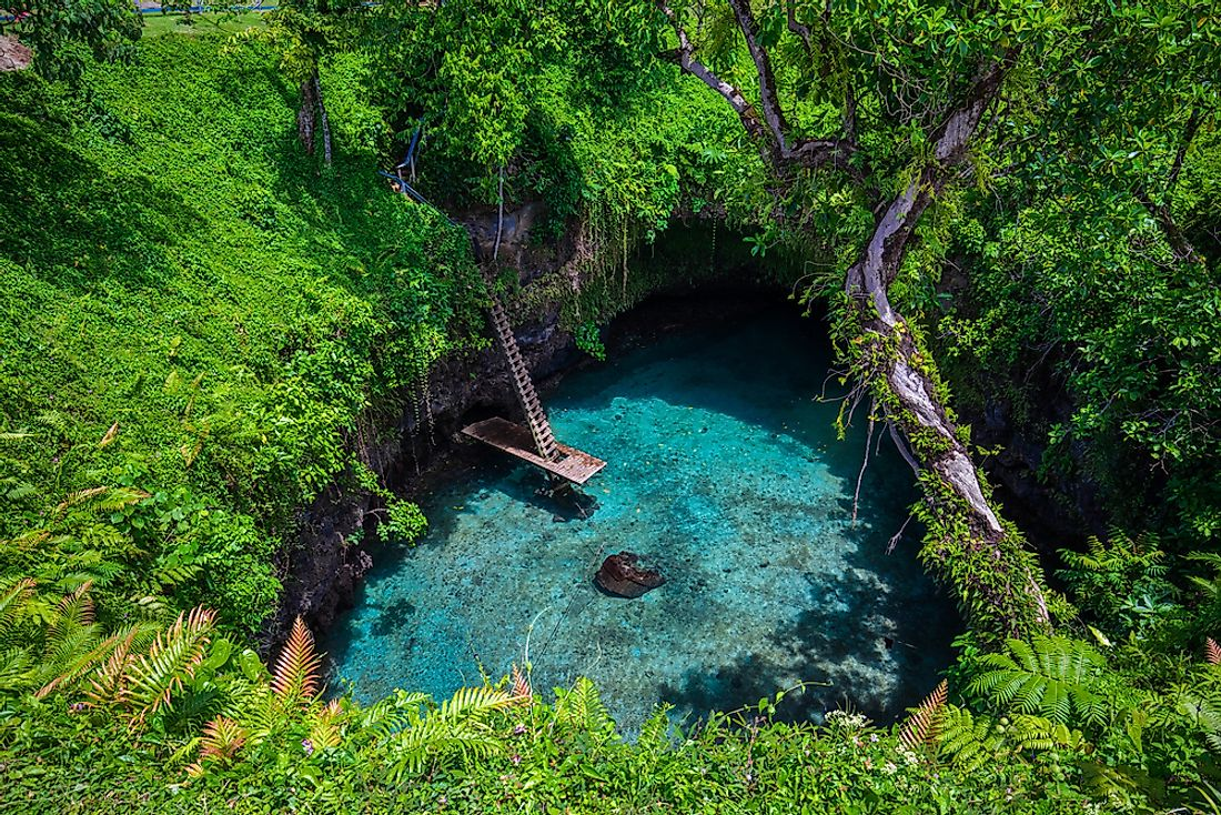 The Sua Ocean trench, a famous swimming hole in Samoa.
