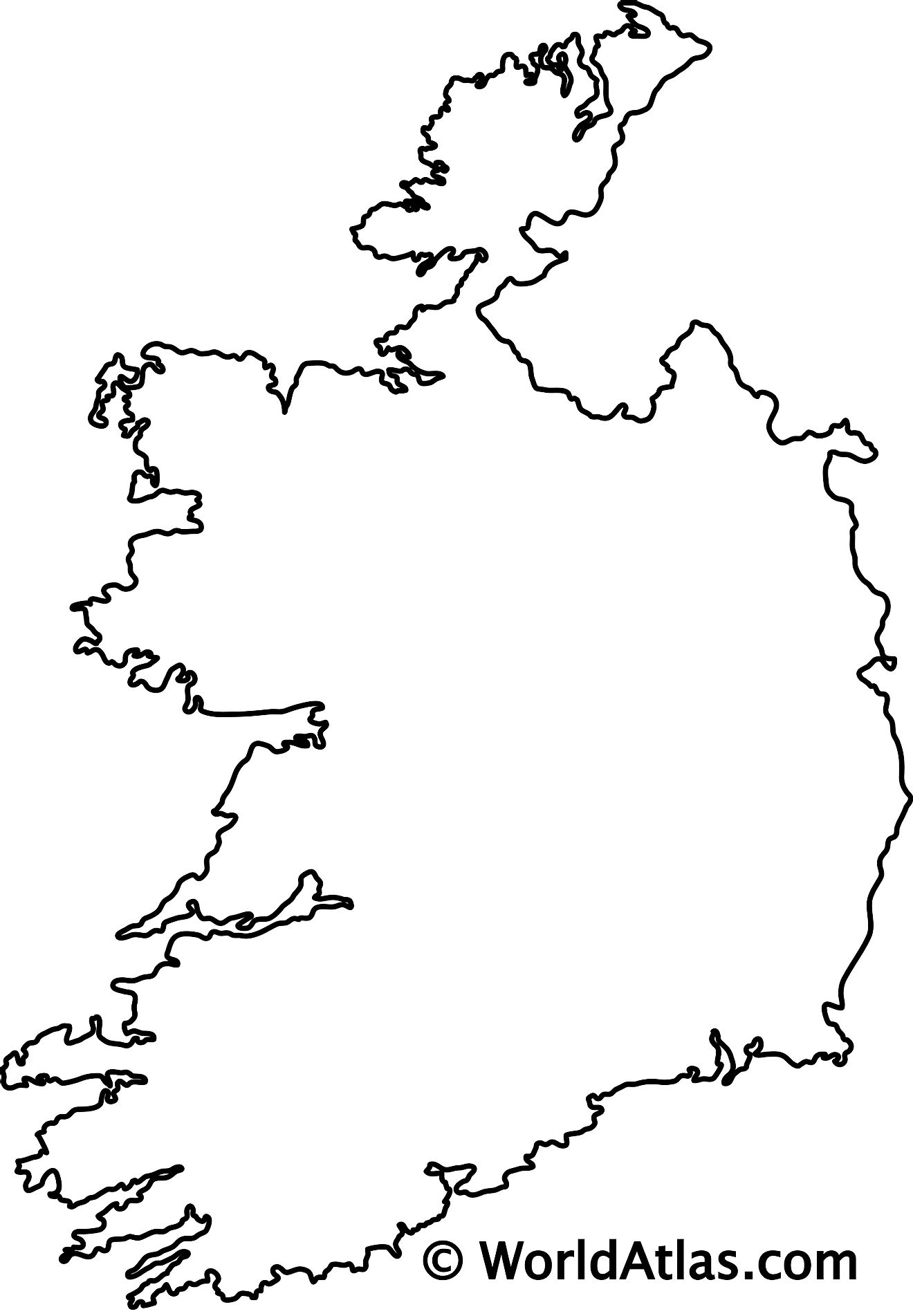 Blank Outline Map of Ireland