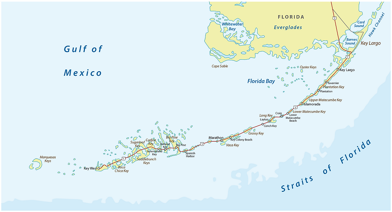 Map showing the Straits of Florida in relation to the Florida Keys
