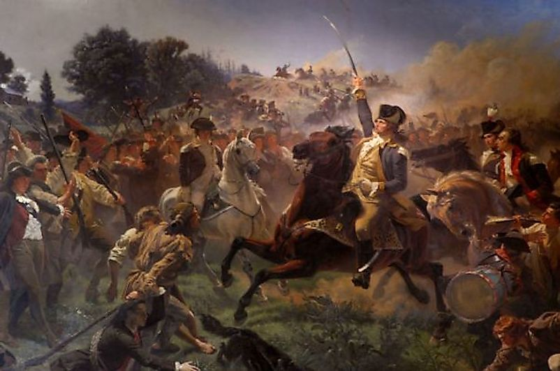 George Washington rallying his troops during the battle of Monmouth.