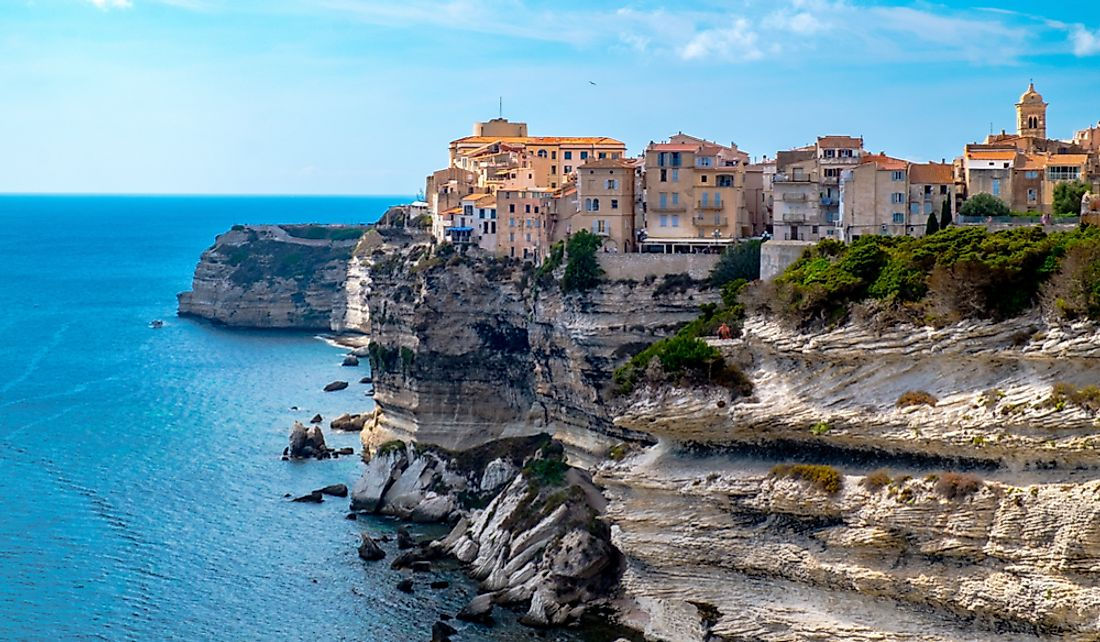 Cliffside city of Bonifacio on the island of Corsica.