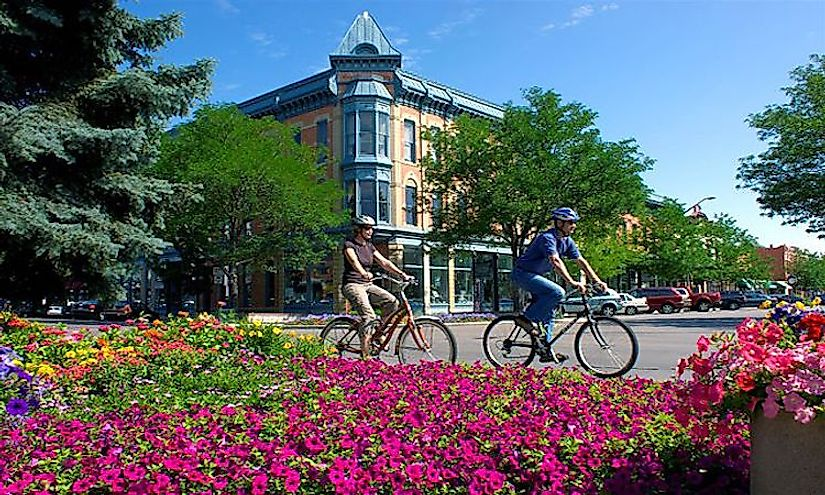 Cyclists in downtown Denver, Colorado