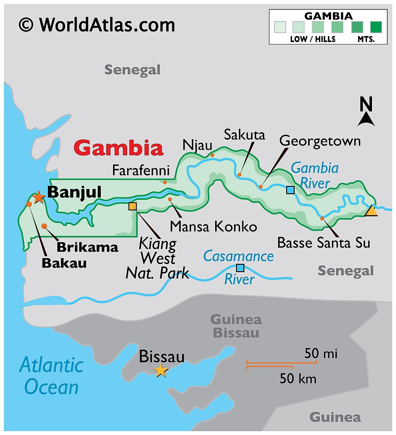 Physical Map of The Gambia showing the state boundaries, relief, The Gambia River, highest point, and important cities.