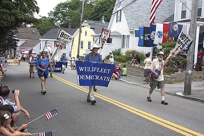 Locals show their party pride in a 4th of July Celebration in Wellfleet, a small town in the Democrat Party stronghold state of Massachusetts.