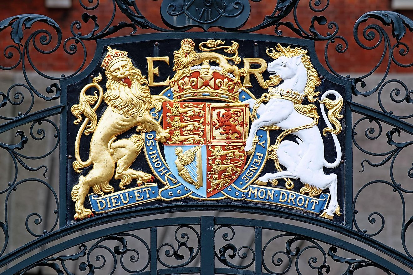 The Royal Coat of Arms of the United Kingdom on Westminster Gate, London, UK.