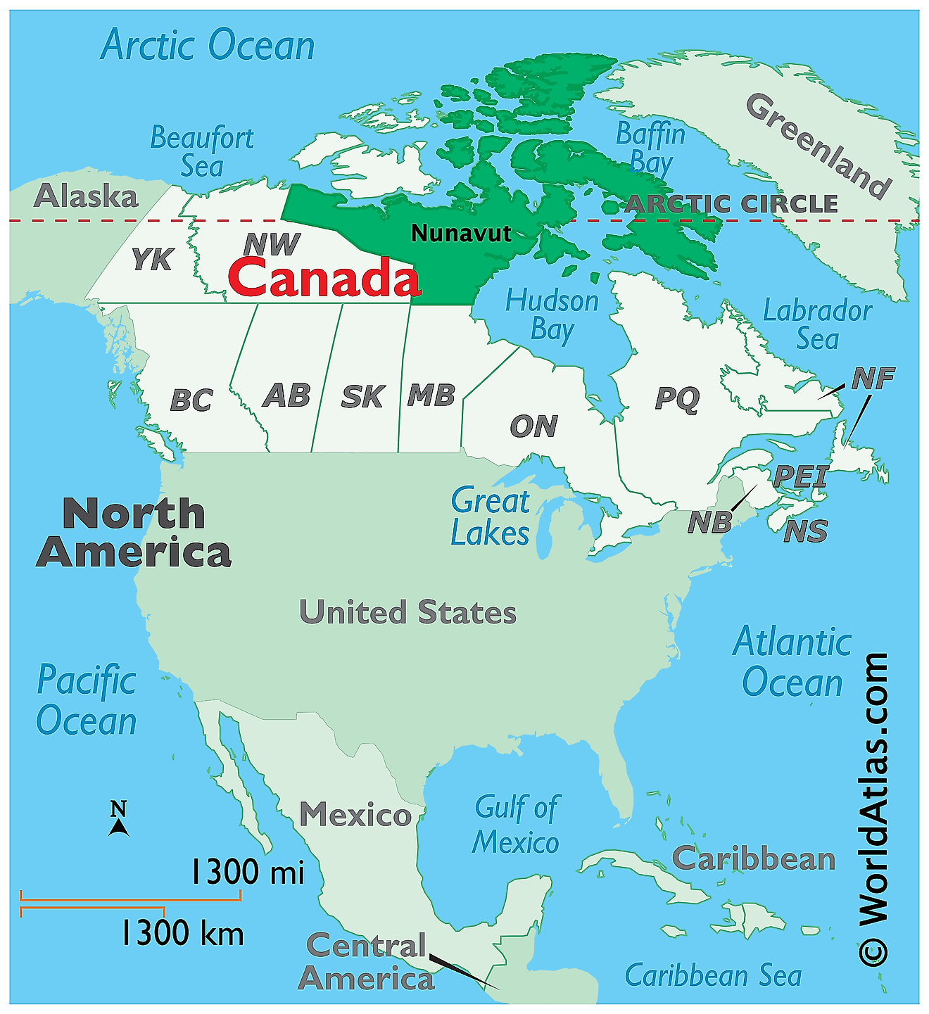 Map showing location of Nunavut in the world.