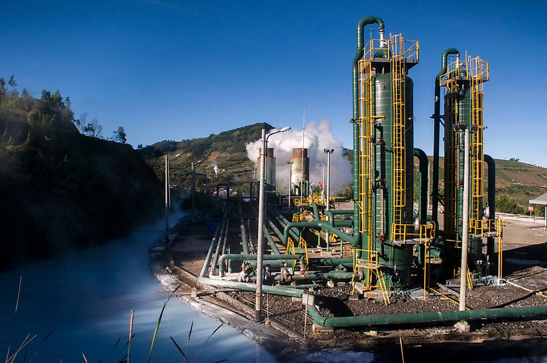 A geothermal power plant in Indonesia.