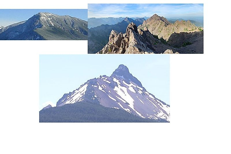 Three Mount Washingtons: the one in Oregon's Cascades (bottom), the one in Washington's Olympics (top right), and the one in Washington's Cascades (top left).