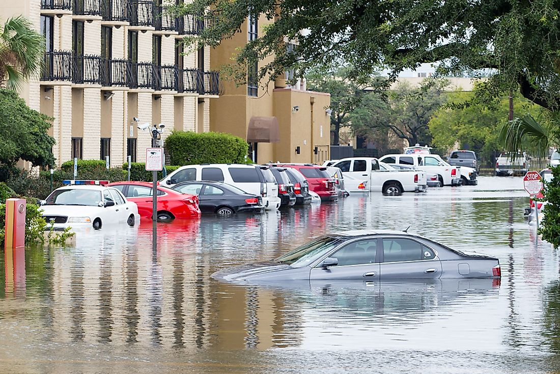 Flooded street in Houston, Texas. Editorial credit: michelmond / Shutterstock.com