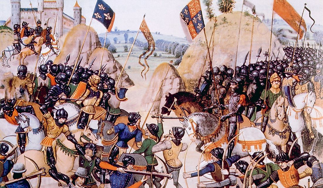 Image depicting the Battle of Crecy (1346) of the Hundred Years' War.