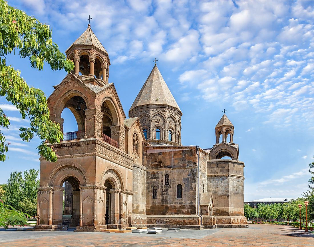 The Etchmiadzin Cathedral in Vagharshapat is the Armenian Apostolic Church's mother church and a UNESCO World Heritage Site.