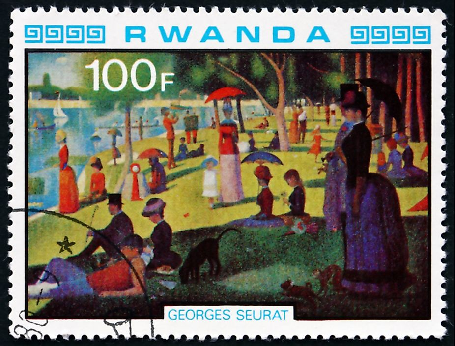 Editorial credit: Boris15 / Shutterstock.com. A Rwandan stamp comemorating A Sunday Afternoon on the Island of La Grande Jatte, circa 1980.