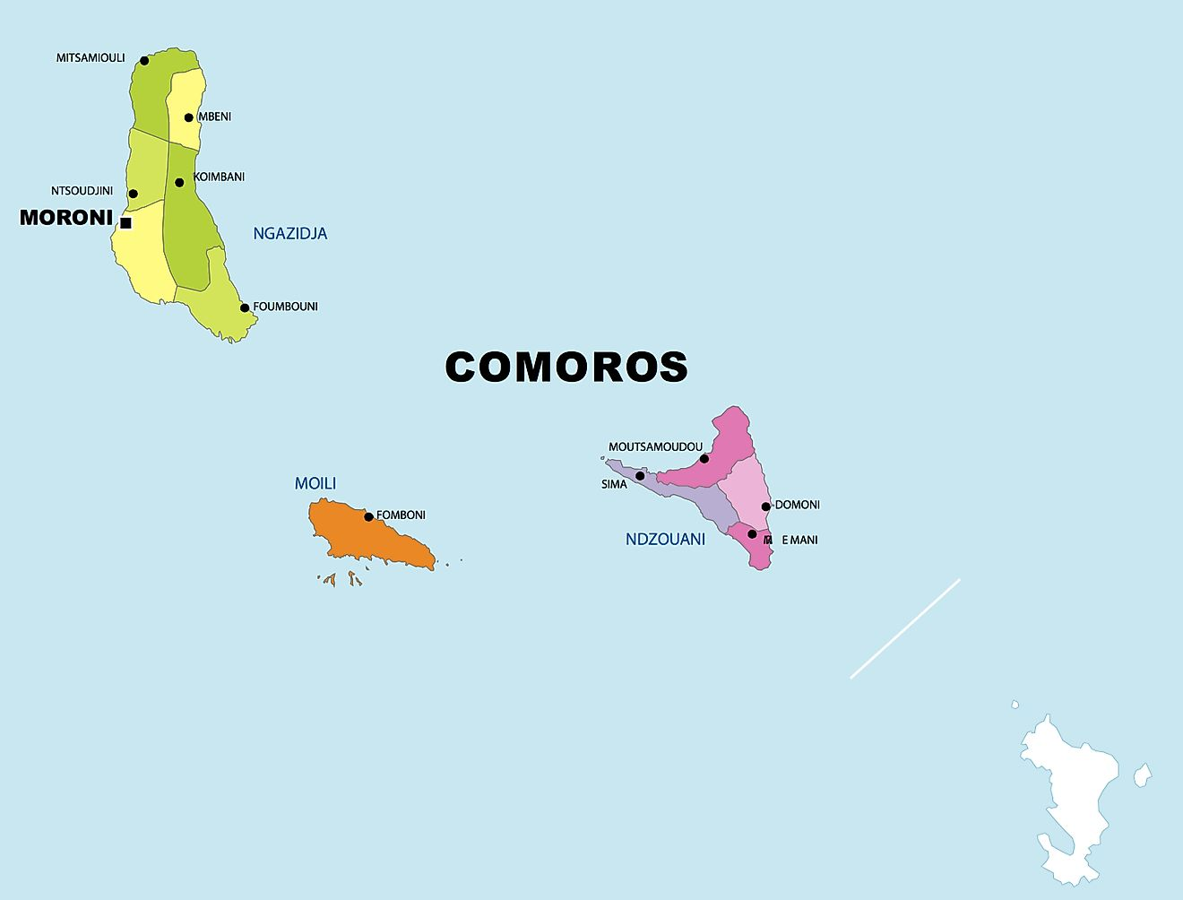 Political Map of Comoros showing 3 islands and national capital of Moroni.