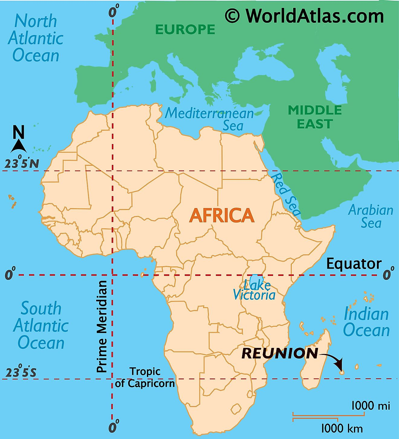 Map showing location of Reunion in the world.