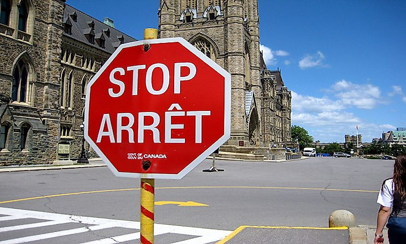 A bilingual stop sign in Ottawa, Canada's capital.