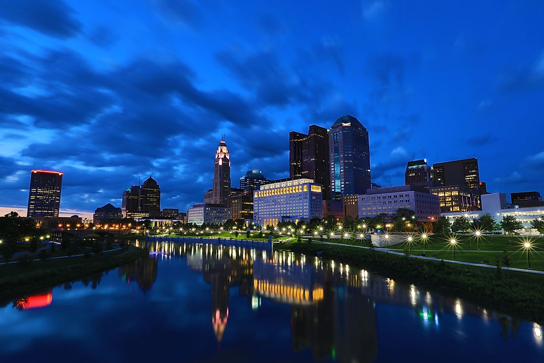 The night skyline of Columbus, Ohio, US