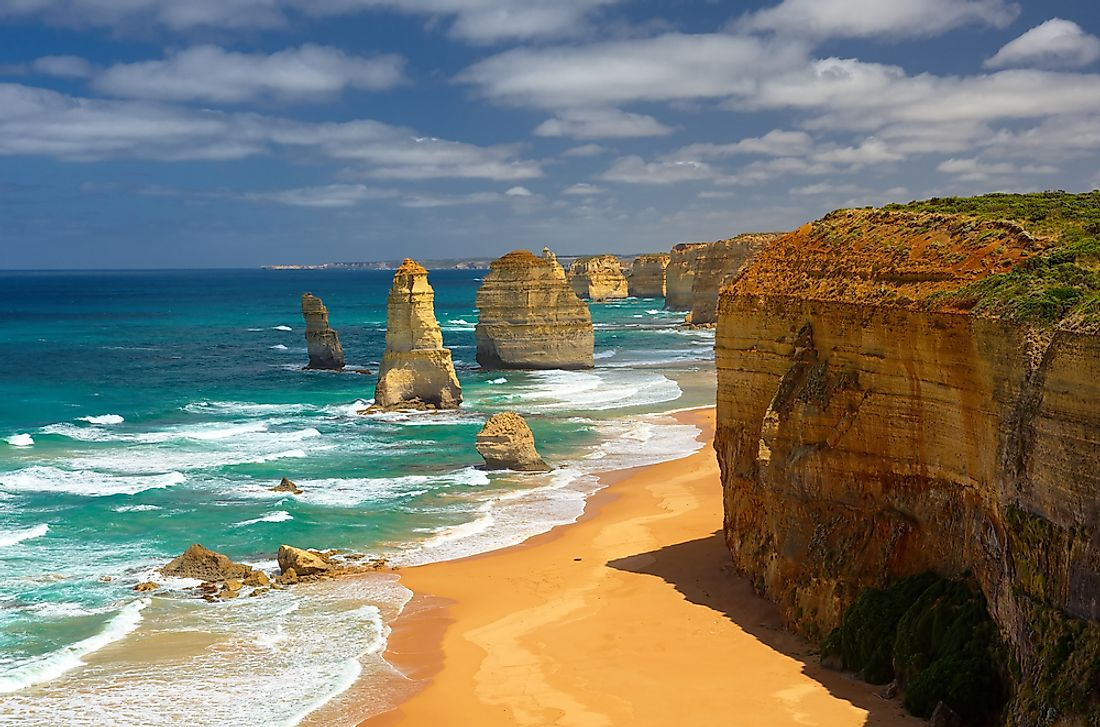 The 12 Apostles stand off the Port Campbell National Park, along the southwest coast of Victoria, Australia.
