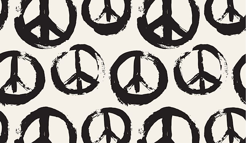 The peace sign is one of the many symbols of the counterculture movement of the 1960s.