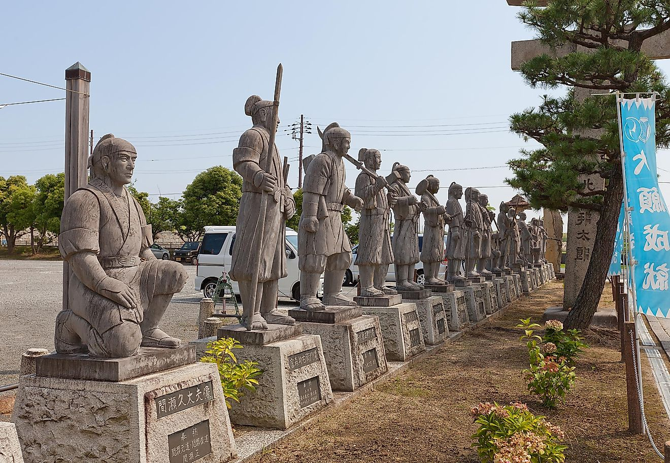 AKO, JAPAN - JULY 18, 2016: Statues of famous 47 ronin in the Oishi Shrine.  Image credit: Joymsk140 / Shutterstock.com