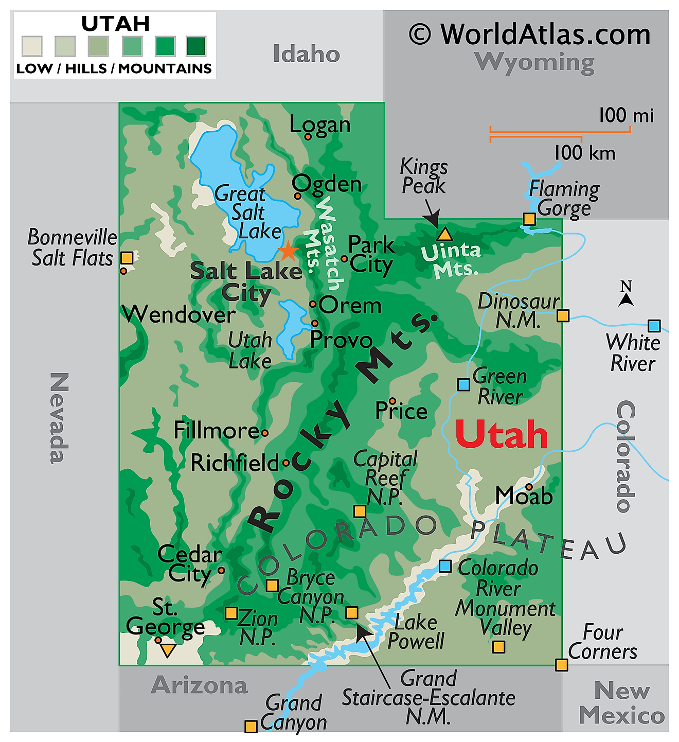 Physical Map of Utah. It shows the physical features of Utah including its mountain ranges, plateau, rivers and major lakes.