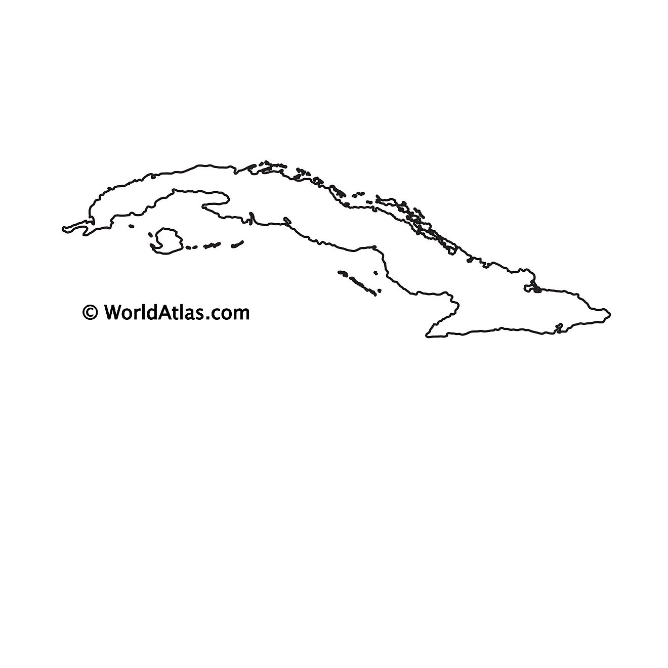 Blank Outline Map of Cuba