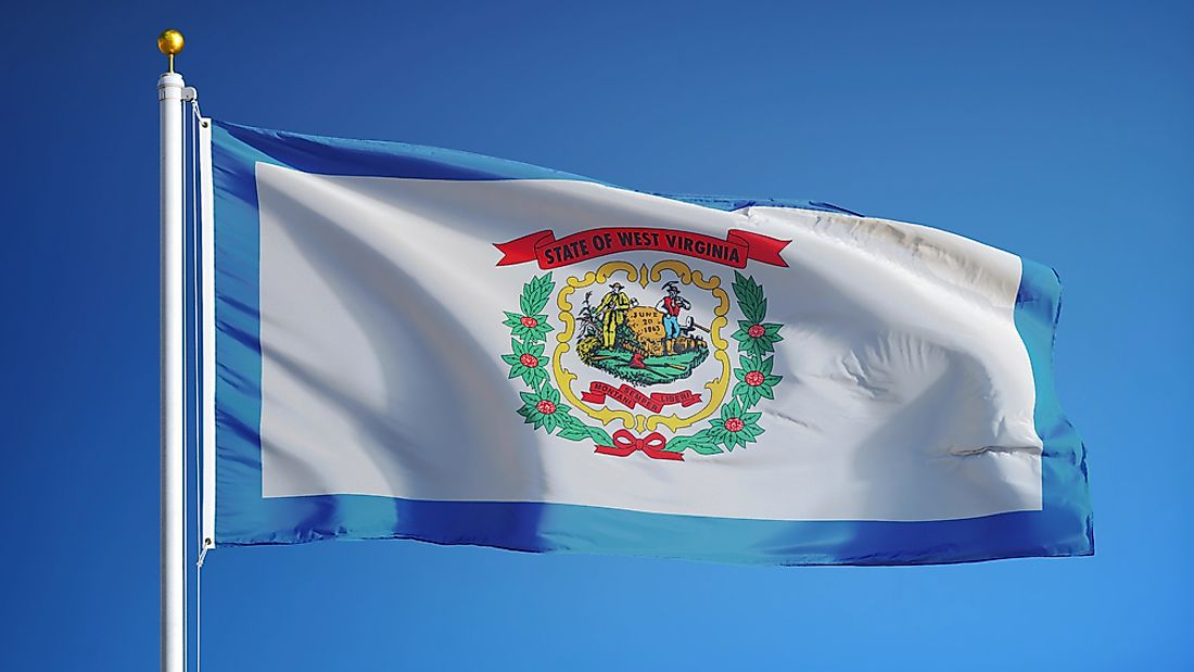 The flag of West Virginia features the West Virginia coat of arms on a white field with a blue border.