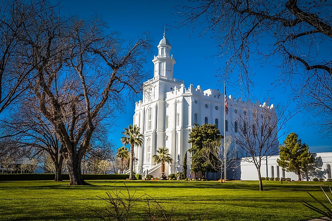 The St. George Utah Temple in St. George, Utah.