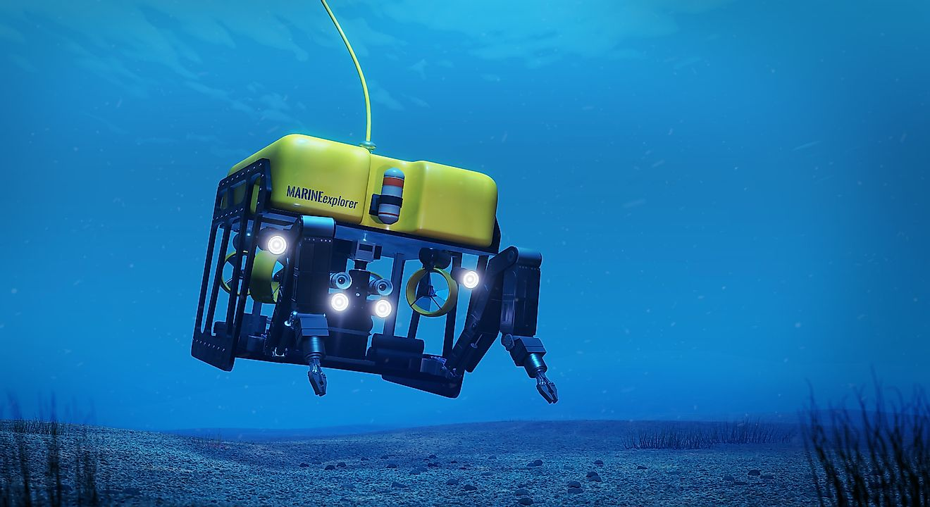 Remotely operated underwater vehicles are used to map the abyssal plains and other deep ocean features.