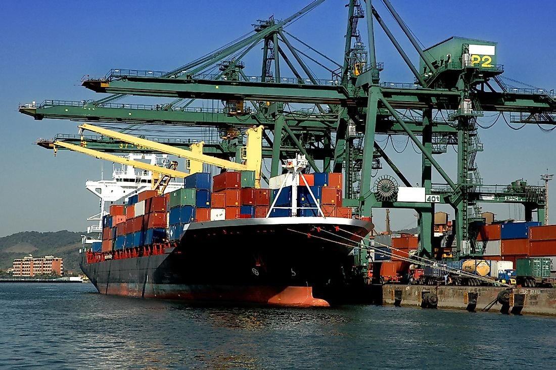 The port of Santos moves 119 million tons of cargo annually.