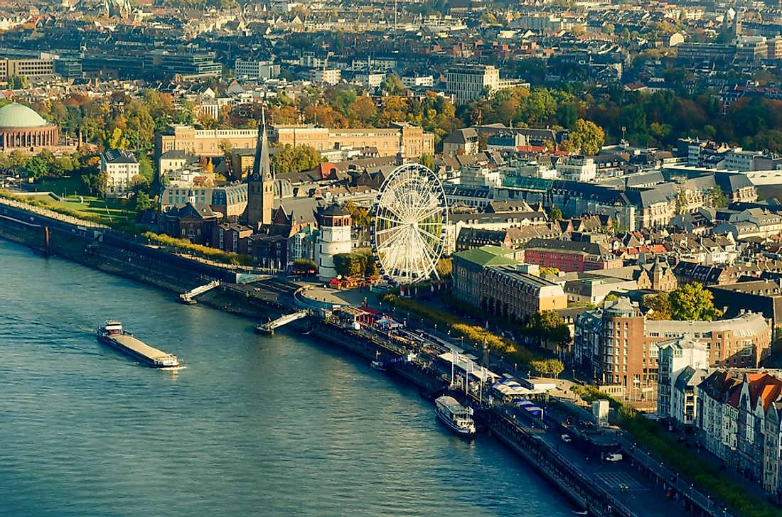 "Dusseldorf, Germany. Dusseldorf is part of a larger urbanized area of Europe known as the ""Blue Banana""."