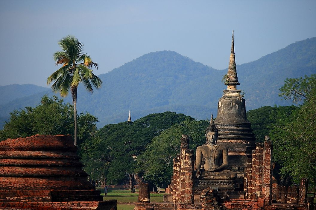 Ancient Buddhist temple in Sukhothai, Thailand.