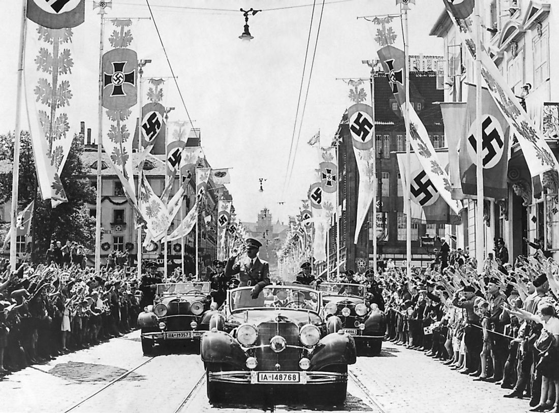 Symbols of propoganda were used to inspire a sense of community and togetherness (volksgemeinschaft) in Nazi Germany. Editorial credit: Everett Historical / Shutterstock.com.